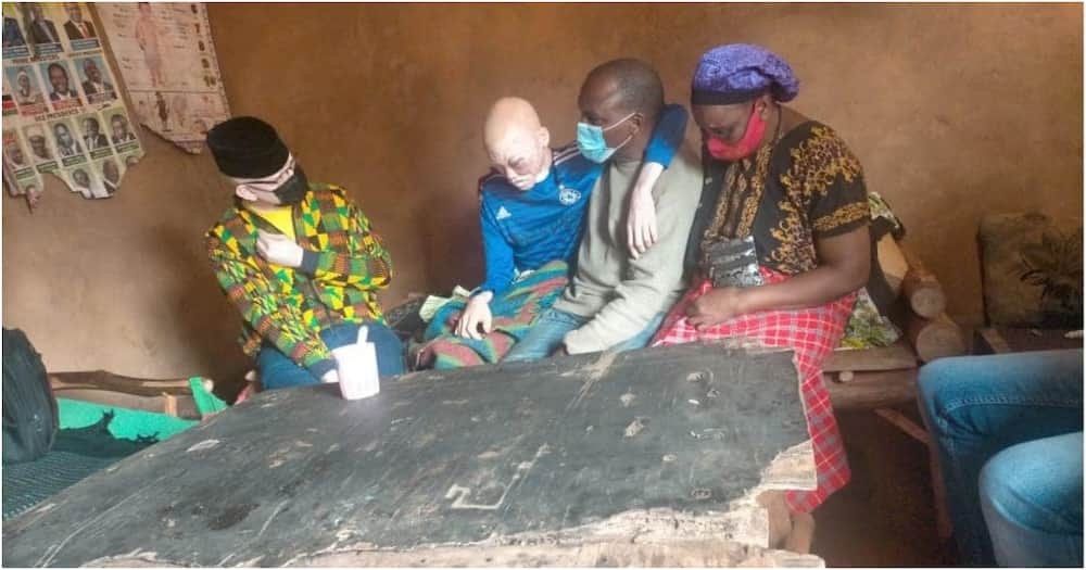 The Albinism Society of Kenya chairman, Isaac Mwaura visited the family in Mwatate.