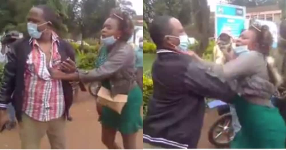 Embu: Dramatic scenes as woman confronts retired commander in public, demands child upkeep