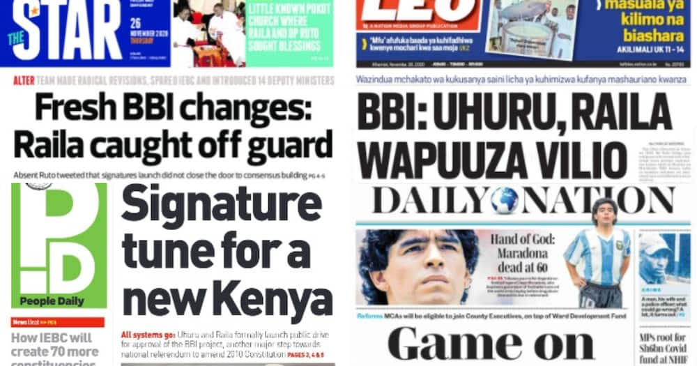 Kenyan newspapers review for November 26: William Ruto says he was not invited for BBI signature launch, he was watching TV at home