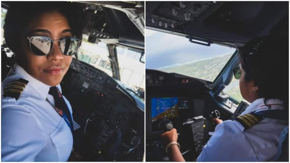 Beautiful female pilot poses in aeroplane, says her passion meets career