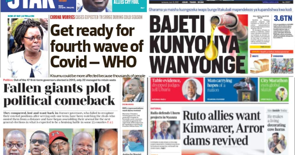 Kenyan newspapers for June 8. Photo: The Standard, Daily Nation, People Daily and Taifa Leo.