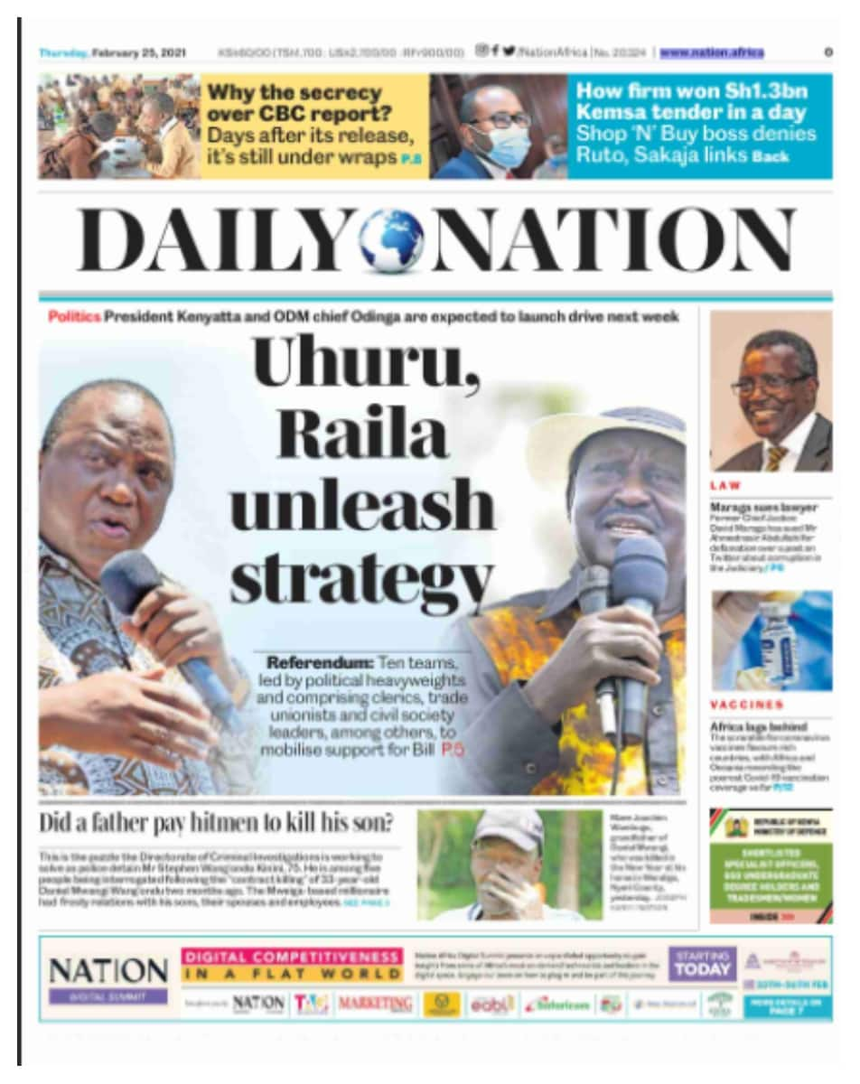 Daily Nation newspaper for February 25. Photo: UGC.