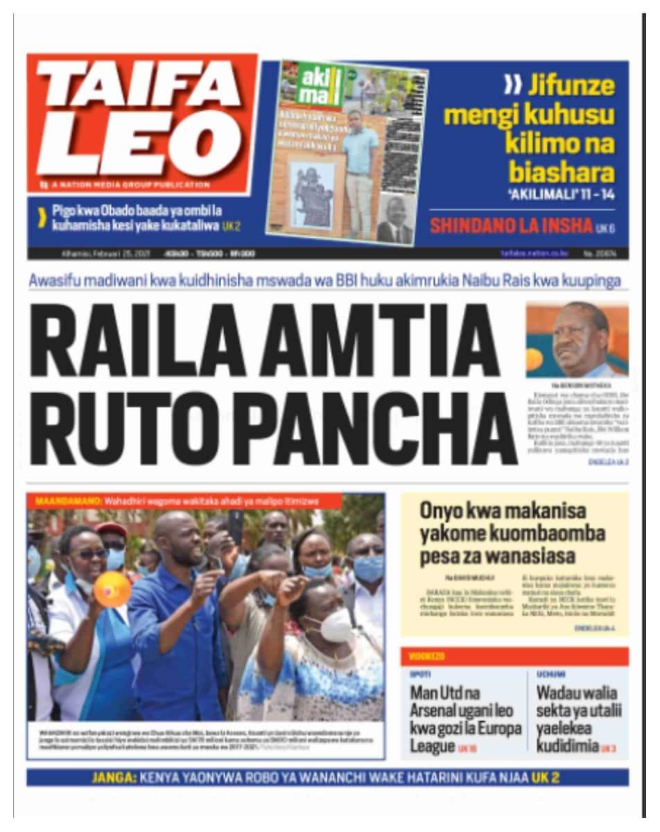 Taifa Leo newspaper February 25. Photo: UGC.