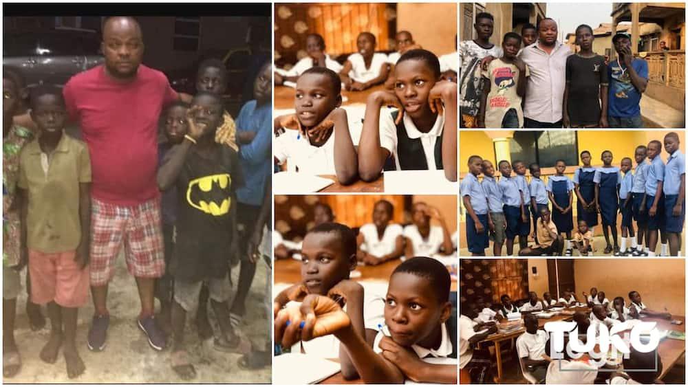 Kind Nigerian man saves kids from street, clothes them, put them back to school