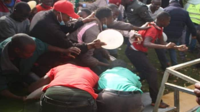 Nyamira: Residents Gatecrash DG James Gesami's Party, Scramble For Food