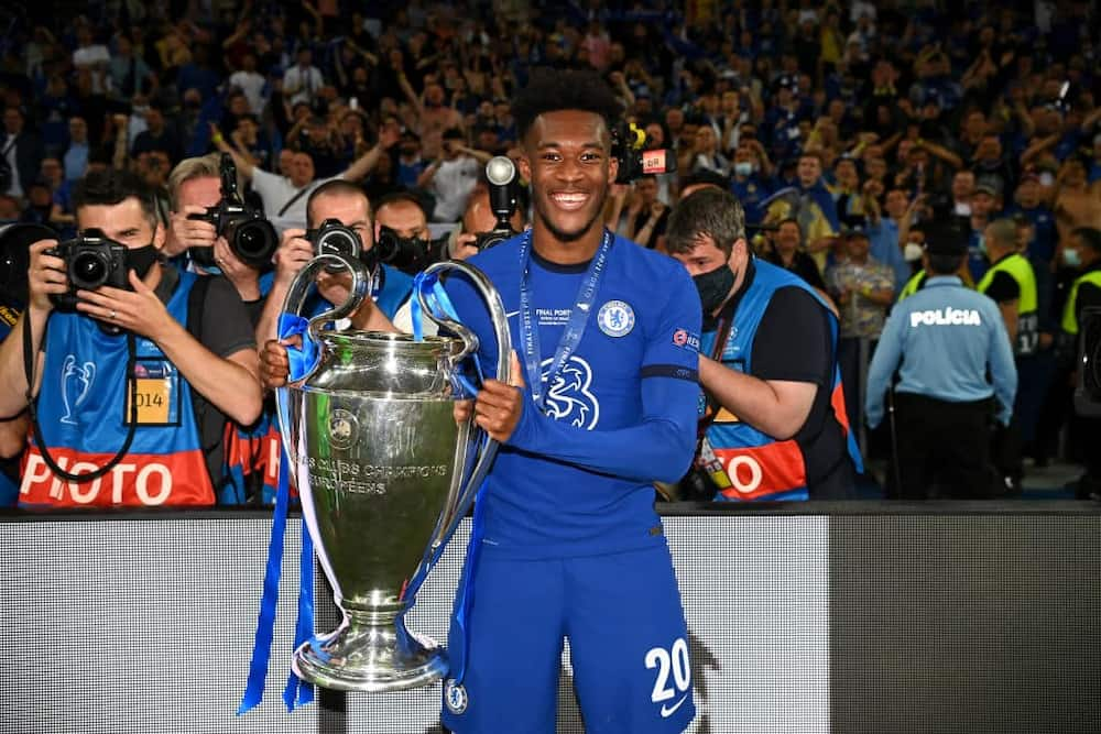 Callum Hudson-Odoi posing with the Champions League title. Photo: Getty Images.