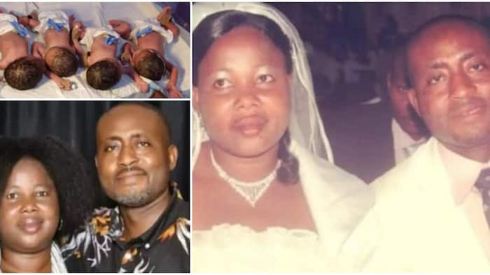 Nigerian couple who got married in 2010 welcomes quadruplets after 11 years of waiting