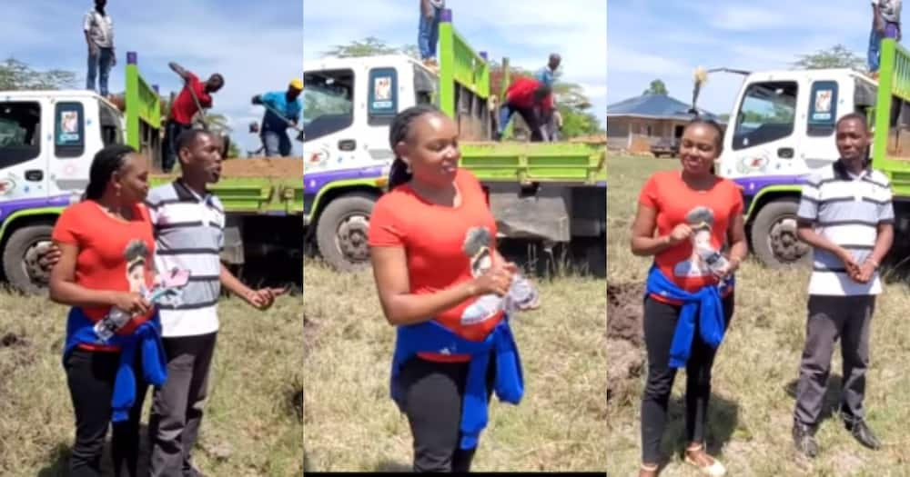 Actor Omosh's beautiful second wife spotted during house groundbreaking event