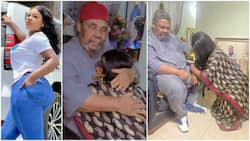 Actress Destiny Etiko Kneeled Down Before Pete Edochie As He Prayed for Her, Video Stirs Reactions