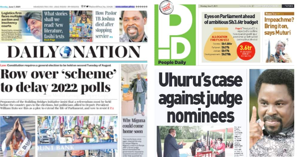 Newspapers Review For June 7: TangaTanga Claim Uhuru is After Plans to Postpone 2022 General Election