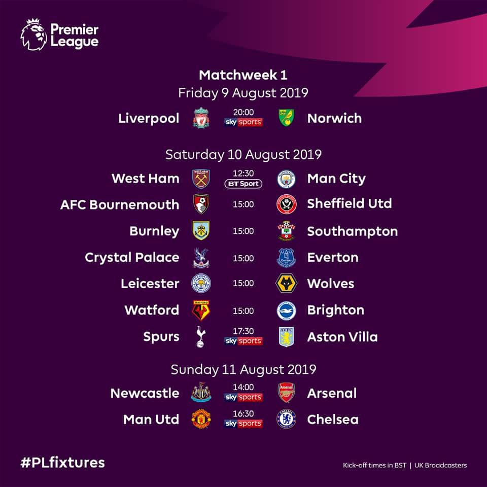 English Premier League Fixtures For 2019 2020