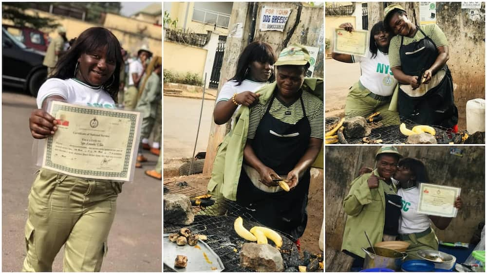 Corper appreciates mum who sells food to pay her school fees, wears her NYSC uniform, shares photo