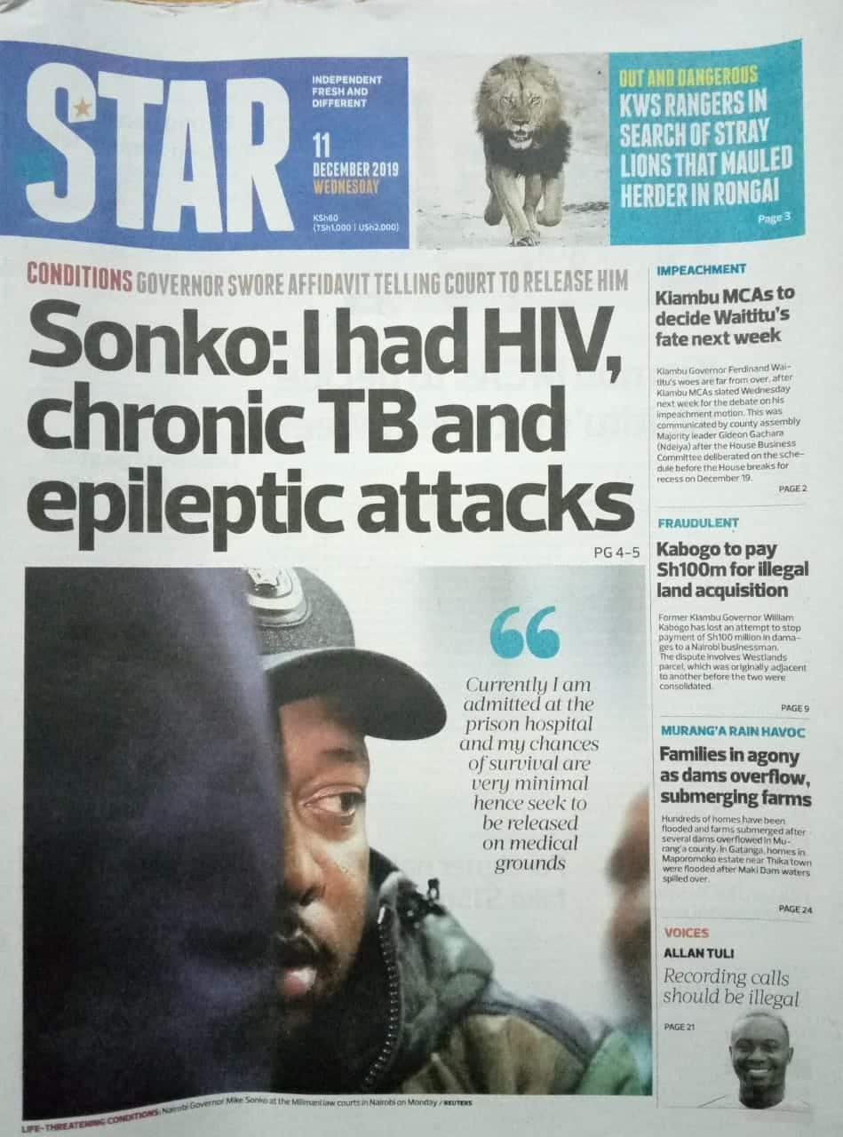 Kenyan newspapers review for December 11: Anguish and suffering as doctors' strike continue in Kisumu