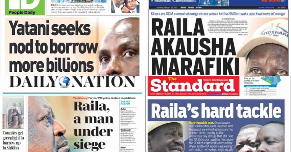 Magazeti ya Jumanne, Februari 23: Raila njia panda siasa