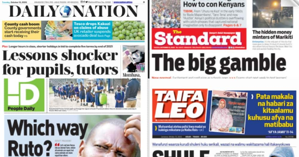 Kenyan newspapers review for October 13: Ruto calls allies to Karen for tactical meeting in wake of public gathering laws