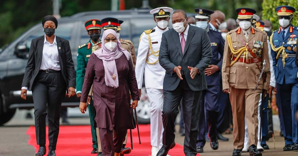 Samia Suluhu Meets Uhuru Kenyatta at State House, Receives 21-Gun Salute