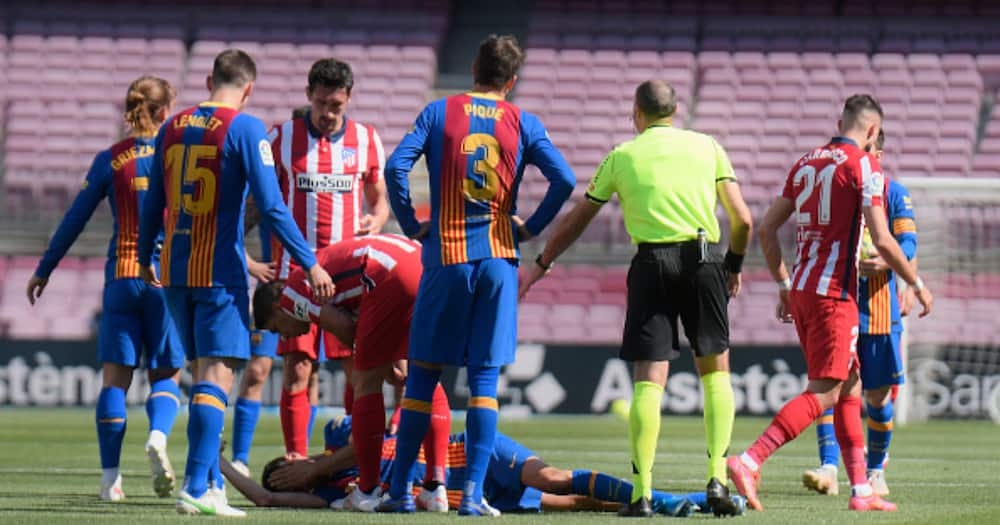 Panic as Barca Star Rushed to Hospital After Suffering a Head Injury During Atletico Draw