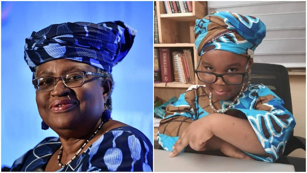 Okonjo Iweala honours 4-year-old girl who models her look with anakara cloth