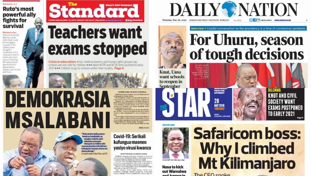 Kenyan newspapers review for May 28: Uhuru says he doesn't want to dig many graves, insists economy is secondary
