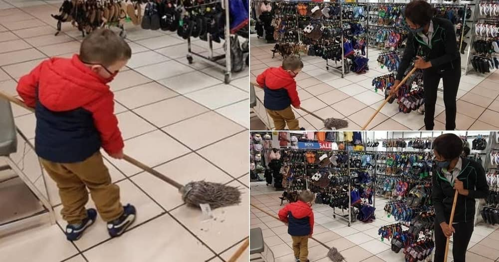 Photos of boy, 3, helping staff clean store before closing goes viral