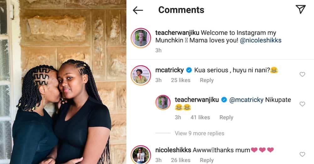 Teacher Wanjiku and her daughter (L) and the conversation she had with MCA Tricky. Photo: Teacher Wanjiku.