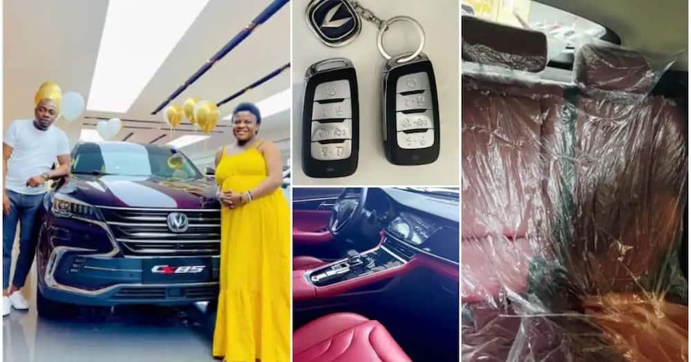 Media personality Angela Nwosu gifted brand new car by her husband Austin.