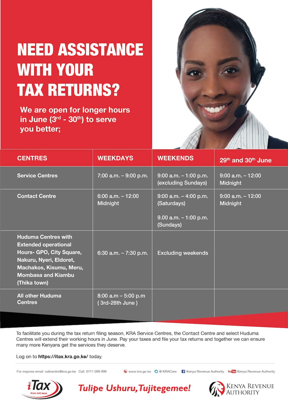 Filing Tax Returns: Good news for taxpayers as KRA extends working hours