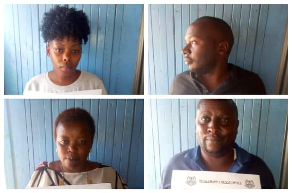 Detectives parade gang of four robbing Kenyan walking out of banking halls