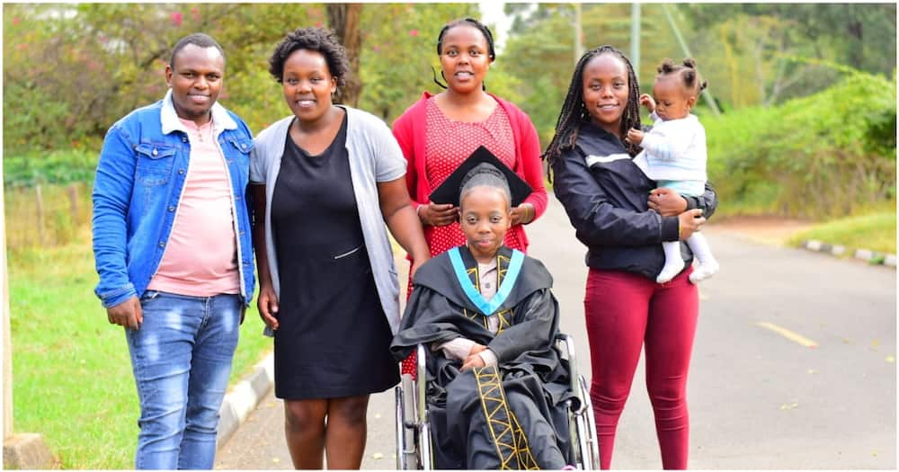 Kenyan woman celebrates sister who lives with a disability after she graduated from university.