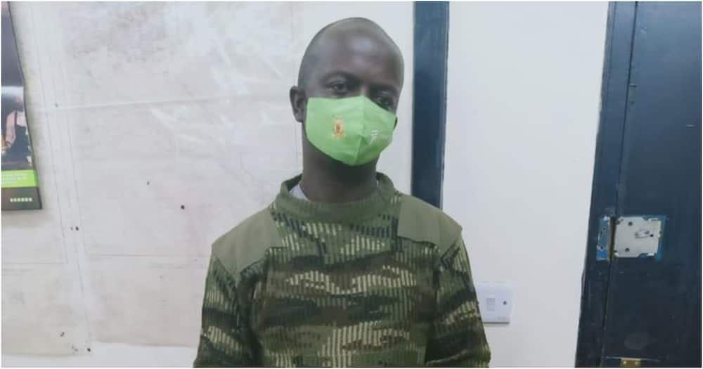 Gregory Simiyu Mabele was donning fatigues belonging to the Administration Police. Photo: DCI