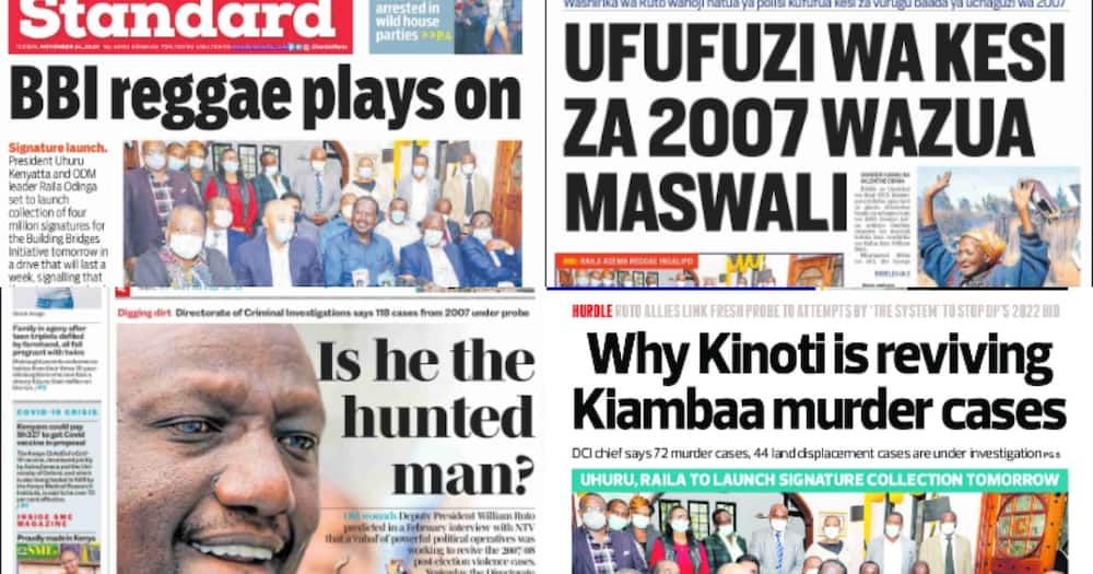 Kenyan newspaper review on November 24: Raila shuts door on BBI amendments, asks opponents to join No campaigns
