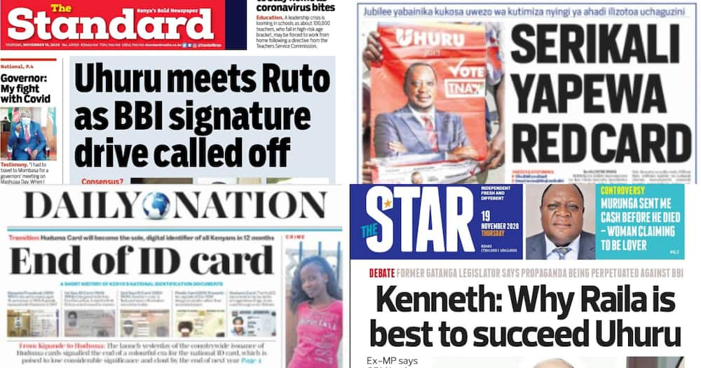 Kenyan newspapers review for November 19: Win for Ruto after postponement of BBI signature launch?
