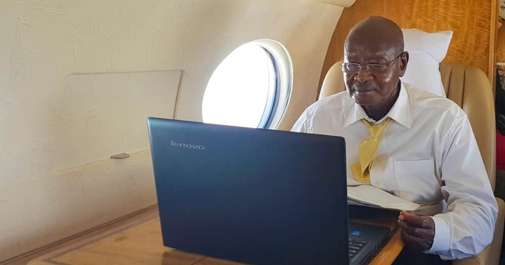 President Yoweri Museveni during an online engagement with supporters. Uganda disowned an online platform giving COVDI-19 grant. Photo: Yoweri K. Museveni.