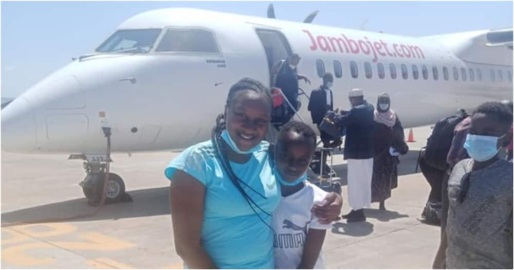 Woman who lost 2 children, caring for orphans sheds tears of joy after boarding first flight