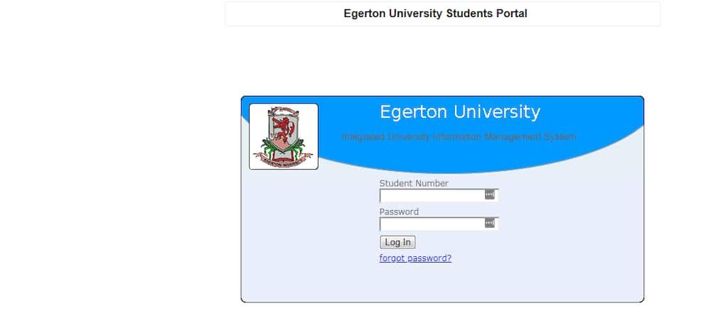 Egerton University student portal registration