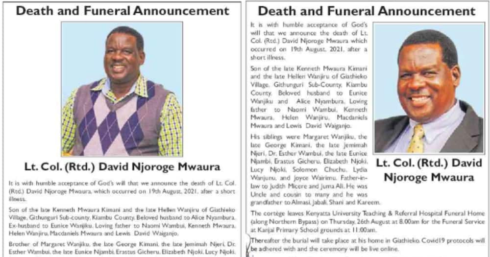 David Njoroge's obituaries. Photo: Daily Nation.