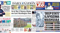 Newspaper Review for October 20: Eyes on Uhuru, Ruto as They Come Face to Face in Kirinyaga for Mashujaa Day Fete