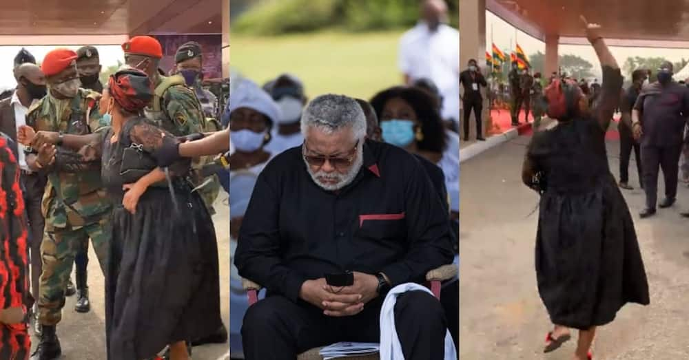 Alleged 1st daughter of JJ Rawlings causes scene at funeral; soldiers restrain her in video
