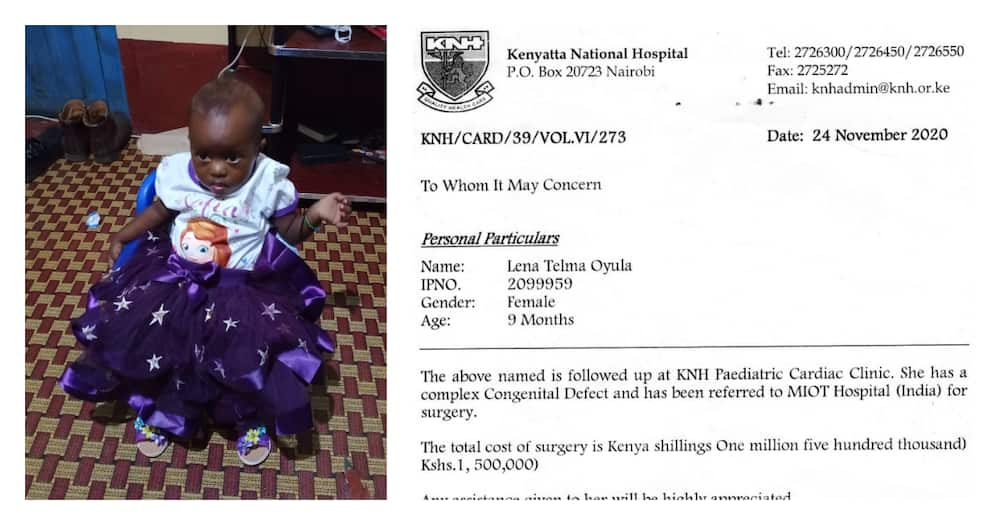 Family of 1-year-old girl appeals for KSh 1.5m help to undergo surgery in India