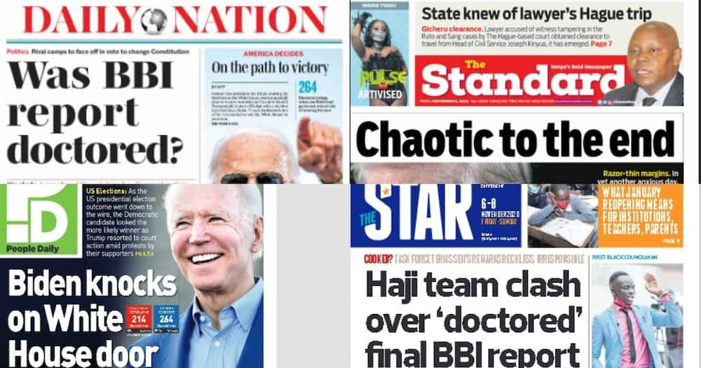 Kenyan newspaper review for Nov 6: Biden knocks on White House door as Trump contests outcome in 3 states