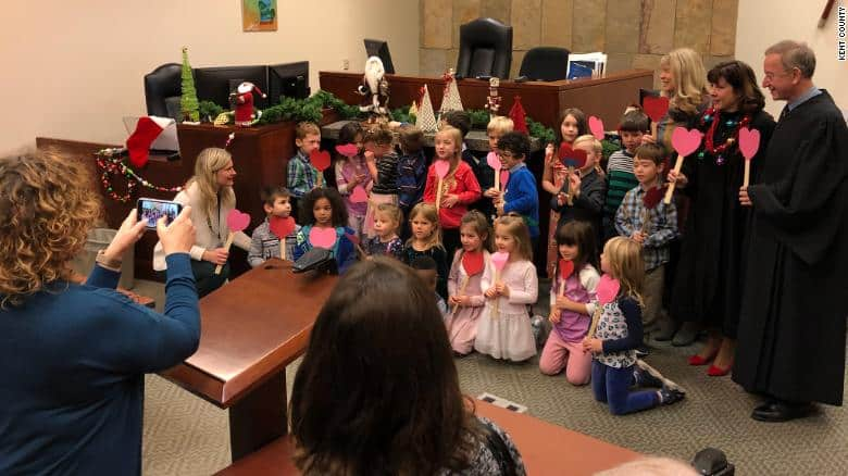Heartwarming moment as 5-year-old boy's kindergarten class shows up for his adoption hearing