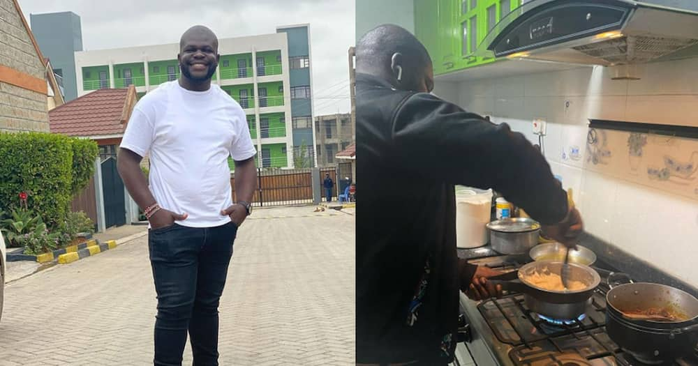 Billy Miya cooking a meal.