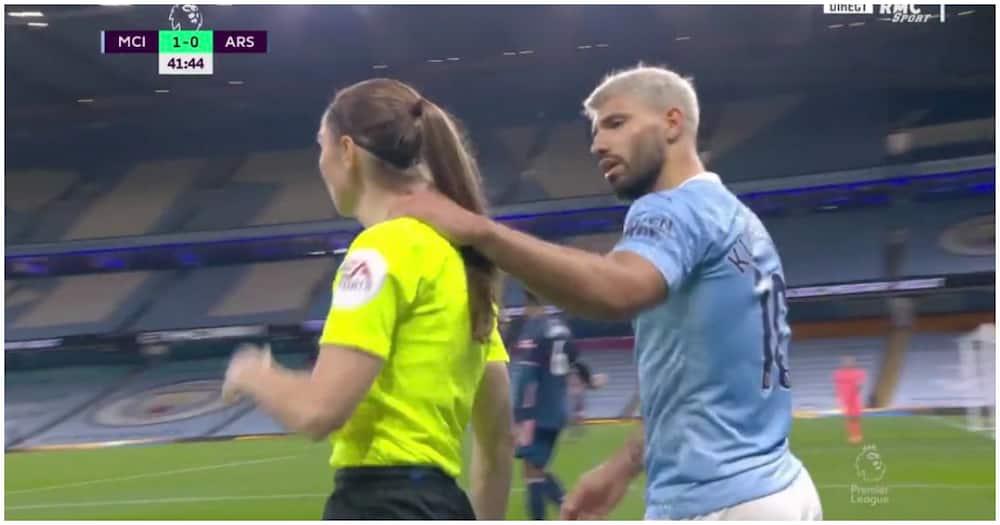 Sergio Aguero grabs referee by neck during tense Man City vs Arsenal clash