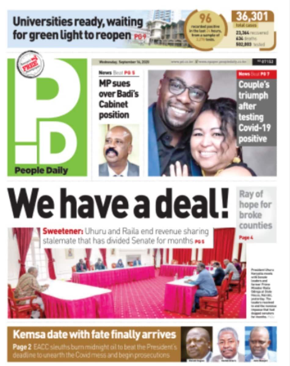 Kenyan newspapers review for September 16: Aisha Jumwa, Omar face elders' curse for defending Oscar Sudi's outbursts