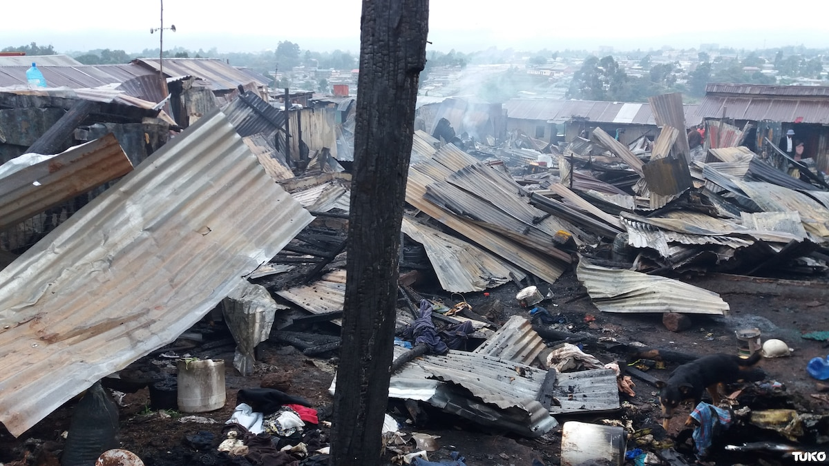 Over 70 families left homeless after raging fire razes their homes in Kangemi