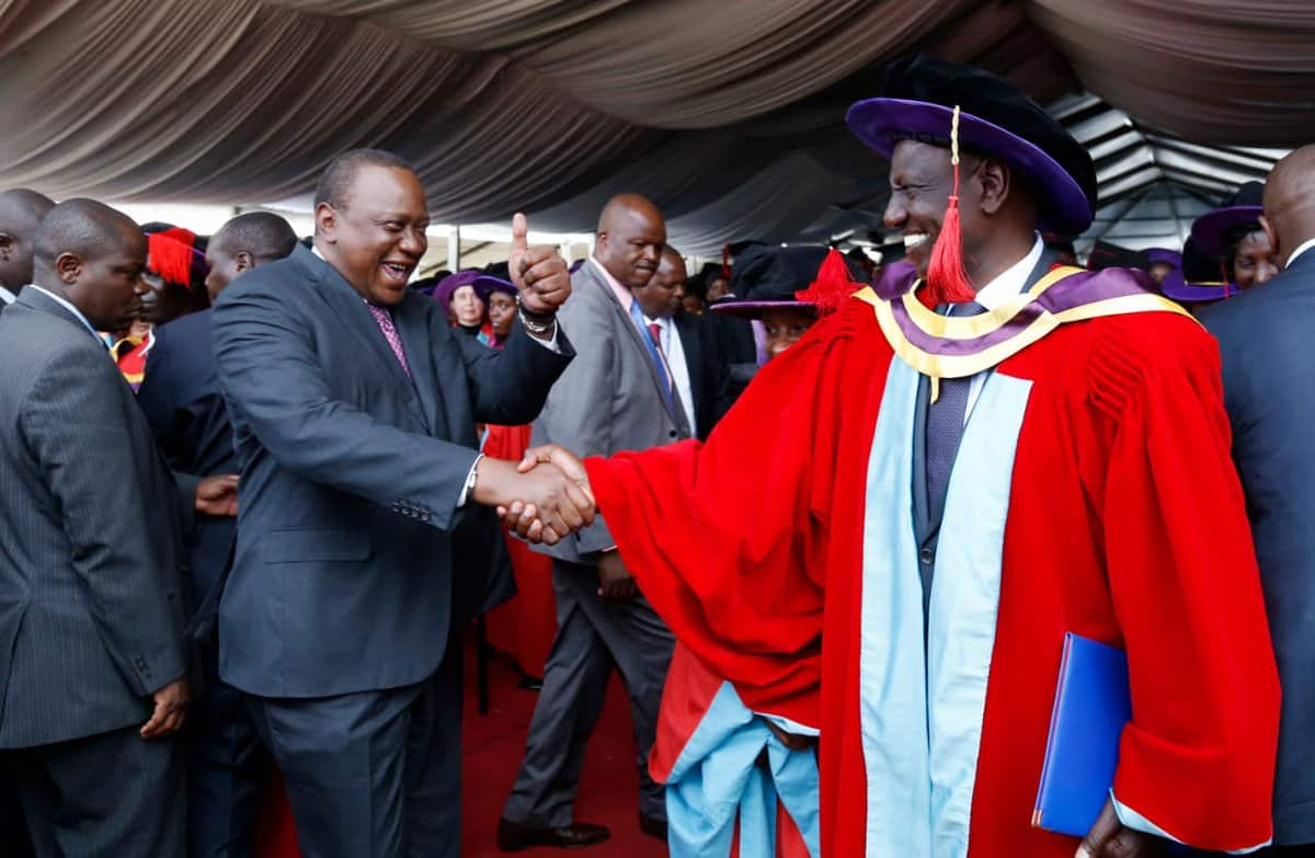 Uhuru jokes he thought Ruto was cheating him by skipping work for studies