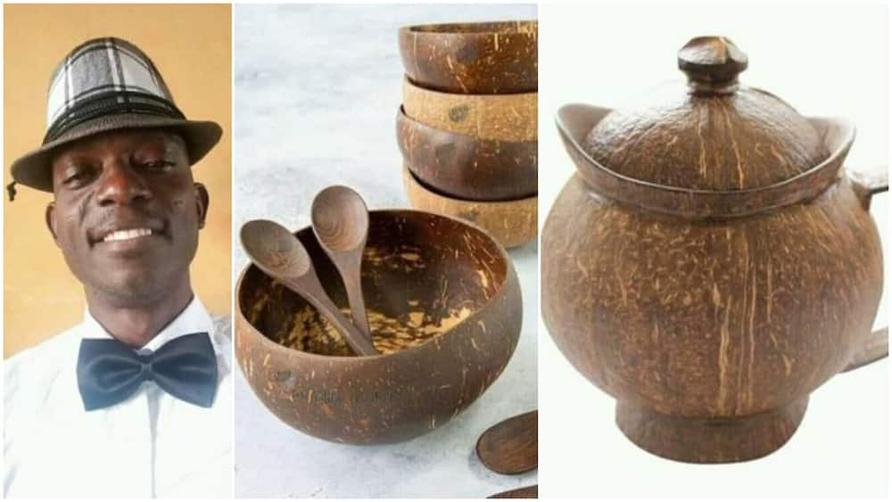 Nigerian Man Converts Coconut Shells Into Fine Cups and Spoons, Photos Stir Reactions