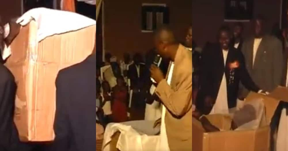 Video of groom receiving his bride in a box generates hilarious reactions online