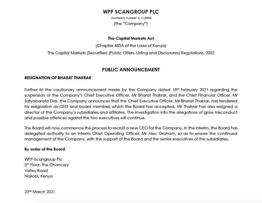 Bharat Thakrar Resigns as WPP Scangroup CEO and Board Member