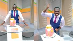 Trevor Ombija Gifted Sumptuous Cake at Work After Exciting Trip to US